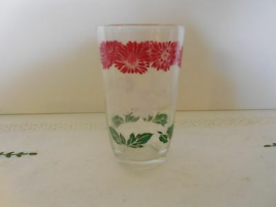 """Red, White & Green Flowers Daisies  3 3/4"""" Swanky Swig - unmarked"""
