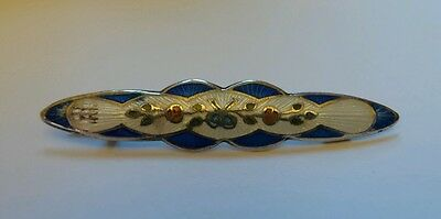 Beautiful Old Vintage Silver Cloisonne Style Design Bar Brooch Pin
