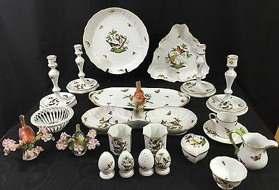 Herend Rothschild Bird China-22 Piece Lot - Serving, Decorative, and Table Items