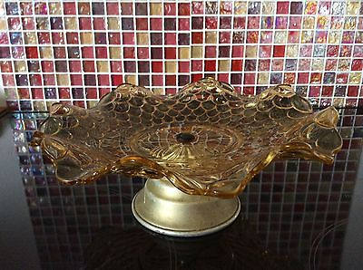 Vintage Amber Glass Cake Stand Plate Tazzo Comport