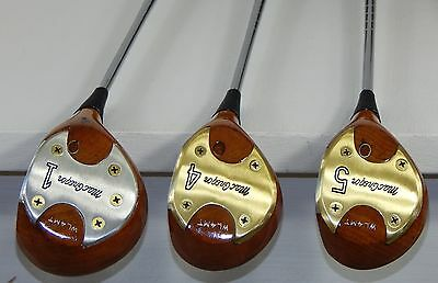 VINTAGE REFINISHED MacGregor Persimmon 1, 4 and 5 Woods Golf Club Set 1968