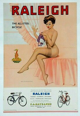 Fridge Magnet  70Mm X 45Mm    Vintage Advertising Poster Raleigh  Bicycle