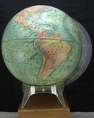 """Vnt 1973 READER'S DIGEST 12"""" REPLOGLE GLOBE MEREDITH CORP RAISED RELIEF w/ STAND"""