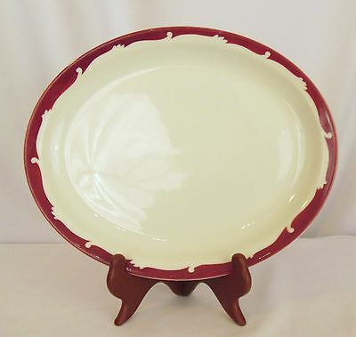 One Syracuse china 1961 RED Maroon WAVE SCROLL BORDER platter plate Restaurant