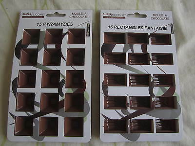 Moule Neuf  A Chocolats En 100% Silicone Qualite 15 Pyramides + 15 Rectangles