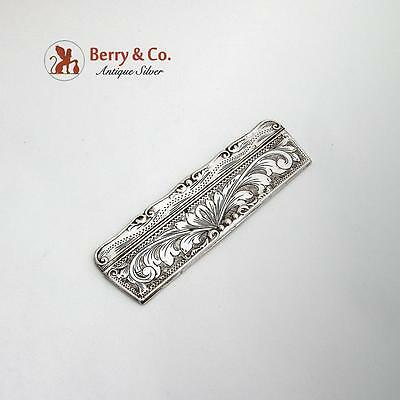 Vintage Engraved Foliate Comb With Case Italian 800 Standard Silver 1950