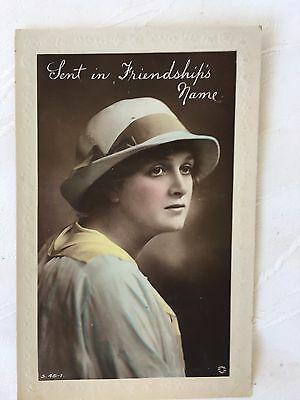 Vintage/antique - Postcard - Lady - Sent In Friendship's Name - Used