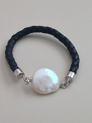 Honora Cultured Coin Pearl 20 Mm Braided Leather Bracelet