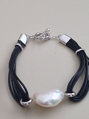 Honora Cultured Pearl Toggle Leather Bracelet 15 Mm