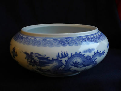 Chinese Blue and White 5 Dragon Bowl | Qianlong Period | Mid 20th Century