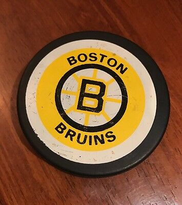 Vintage 80's Boston Bruins Hockey NHL Game Puck  Made in Canada