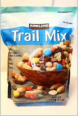 KIRKLAND TRAIL MIX 4.0 Lb New Sealed Bag Peanuts Almonds Raisins M&M Candies