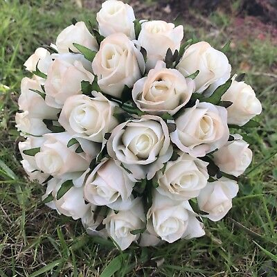 Silk Ivory Cream Rose Roses Posy Wedding Flower Bouquet Flowers 26 Heads