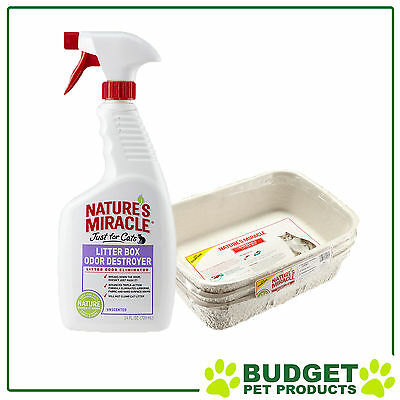 Natures Miracle Litter Pack - 3 x Trays & Litter Odour Destroyer Spray 709ml