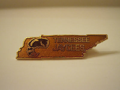 COONSKIN HAT in State Shaped Tennessee Jaycees Pin