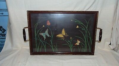 Antique Decorative Wooden Frame Dresser Tray With Butterflys And Flowers