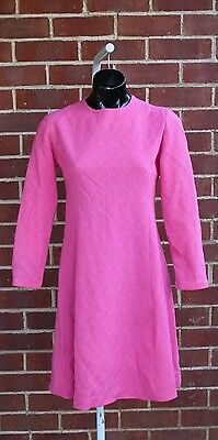 Vintage 60s bright pink knit dress gogo mod retro scooter