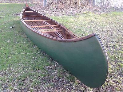 1929 OLD TOWN H  W  Model Canoe 17' wood canvas Nice professional  Restoration