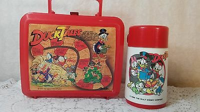 Vintage 1986 Plastic Disney Duck Tales Lunch Box with Thermos