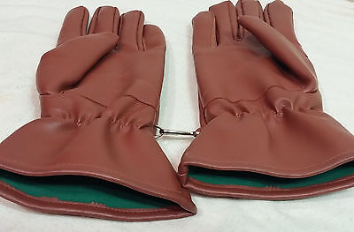 Vintage Mens Brown Vinyl Winter Gloves Large