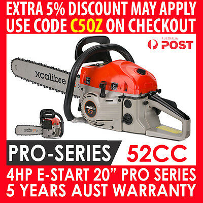 "Xcalibre 52Cc Petrol Commercial Chainsaw 20"" Bar Log Chain Saw E-Start Pruning"