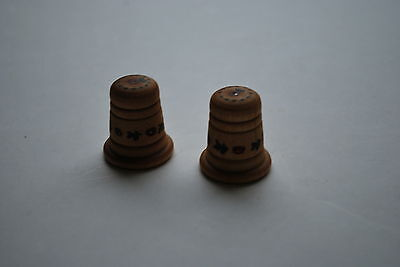 2 Wooden Thimbles with Apple Decorations - 1 inch tall