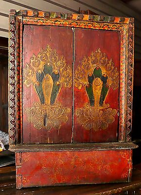 TIBETAN Yangam Painted Chinese Cabinet Asian Furniture mid 1800 20w 9d 27h