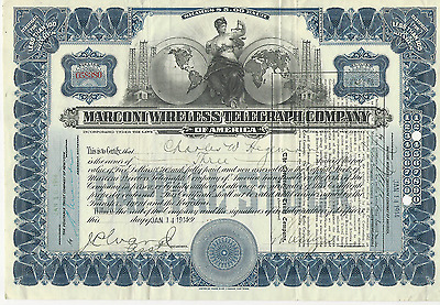 1914 Marconi Wireless Telegraph Stock Certificate NEW JERSEY historical document
