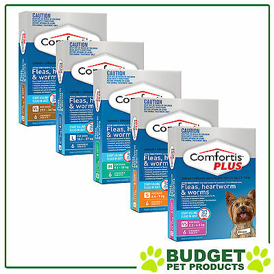 Comfortis Plus (Panoramis) Dog Flea Heartworm & Worm - 6 Pack