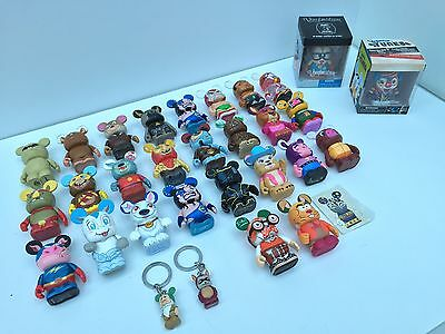 Disney Vinylmation Collectible Figures Mixed Lot 28 Two NIB + Two Keychains