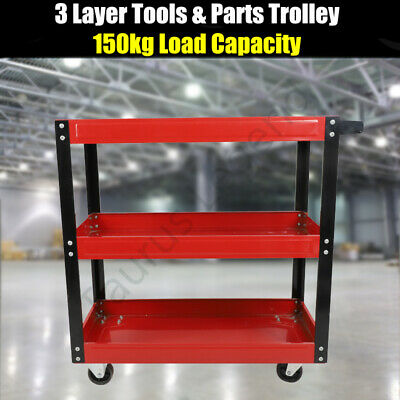 Heavy Duty All Steel 3 Tier Tool Parts Trolley Cart Storage Warehouse Workshop