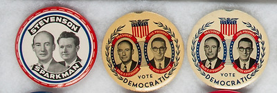 "Adlai Stevenson: Three Different 3 1/2"" Jugate Buttons"