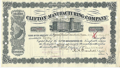 1913 Clifton Manufacturing Company South Carolina WITH STAMPS *Pays cancer bills