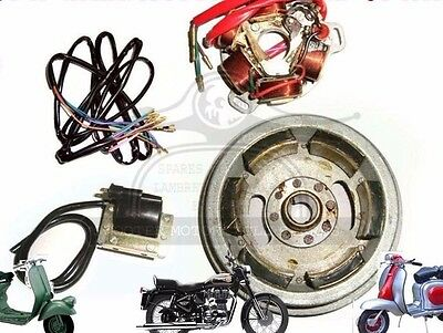 Flywheel Stator Assembly Coil & Wiring 6V Lambretta Li Sx Tv Point Type @aud