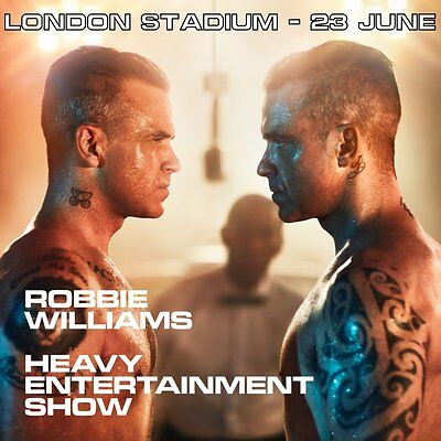 ROBBIE WILLIAMS   LONDON STADIUM 23 June   2 SEATED Tickets   Section 112 Row 21