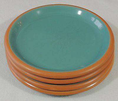 4 Vintage Crown Corning Japan Sonora Terra Cotta Aqua Salad Plates EUC