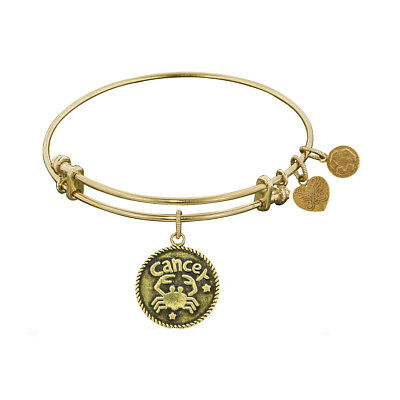 Antique Smooth Finish Brass Cancer - June Angelica Bangle