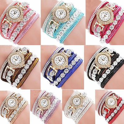 Fashion Women's Stainless Steel Bling Rhinestone Bracelet Wrist Watch Lady Gift