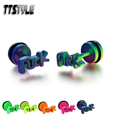 TTstyle Stainless Steel Fake Ear Plug Earrings 5 Colors Available
