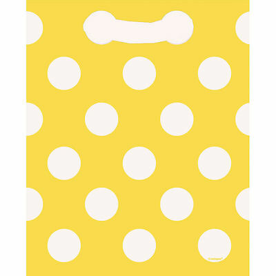 Yellow White Polka Dot 8 Loot Bags Favours Birthday Party Adults Kids Spots