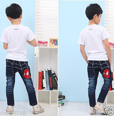 New Kids Baby Boys Girls Back Spider-Man Denim Jeans Pants Casual Trousers 2-7Y