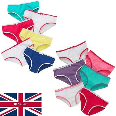 Girls Just Essentials Multipack of 5 Briefs Pants Knickers Cotton School Colours