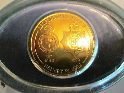 Bedfordshire Police Helmet Plates Medal In Glass Paper Weight