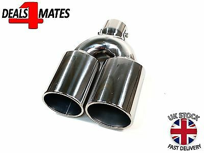 Universal 1X Double Exhaust Sport Chrome Twin Pipe Trim Tip Tail Muffler 35-55Mm