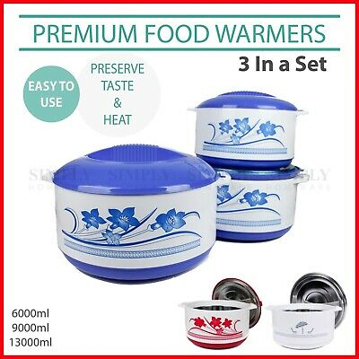 Portable Food Warmer Warmers Insulated Warm Thermal Container - 3 Piece Set or 1