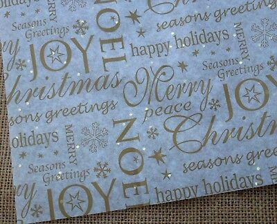 5 Sheets Xmas Tissue Wrapping Paper Silver Gold Stars Noel, Red Sparkle