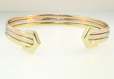 "9ct Yellow, White & Rose Gold Buckle Torque Bangle 6.5"" 12mm Width"