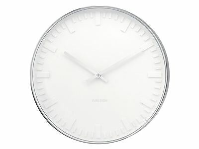 Karlsson Mr. White Station Steel Wall Clock Wall Clock Unique Modern Timepiece