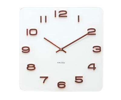 Karlsson White Vintage Glass Wall Clock Copper Numbers Square Glass Retro Clock