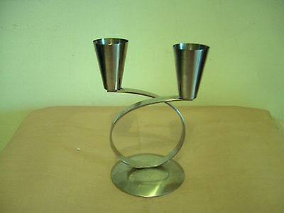 A Vintage/retro Stainless Steel 2-Branch Candlestick - Denmark Mg/gm